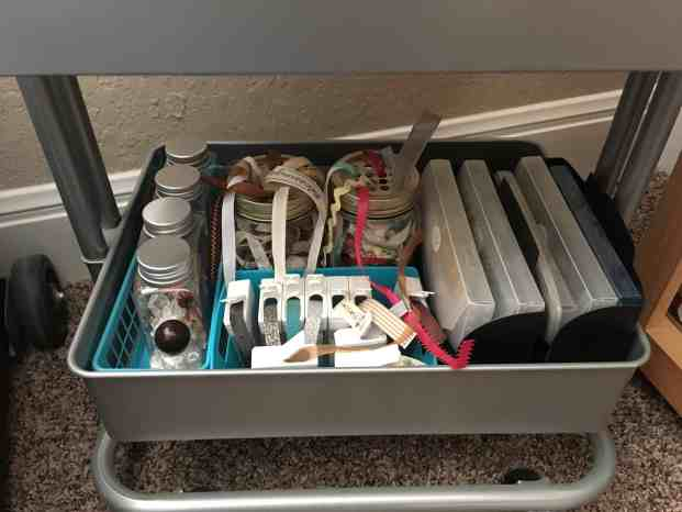 Rolling Cart Organization - bottom shelf with embellishment and ribbon jars, 4x6 storage with die cuts & journal cards