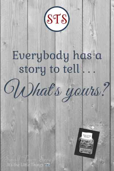 Everybody has a story graphic, wood background with round STS logo, typewriter graphic
