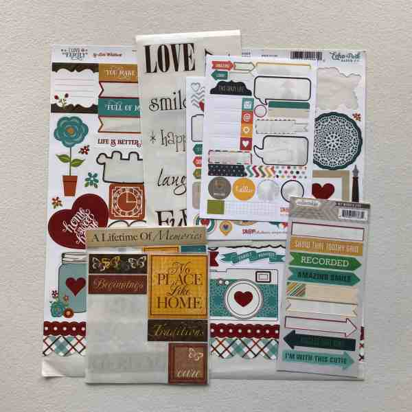 "Scrapbooking stickers, small word strips; October Counterfeit Kit Challenge kit ""Memories of Home"""