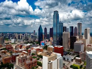 A view of the Dallas skyline during daytime.