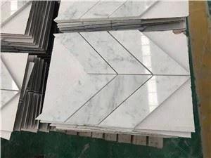 china carrara white marble chevron