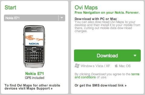 Ovi maps gratis Nokia E71 E66