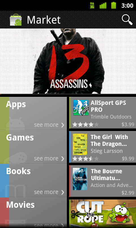 Android Market multiples apps