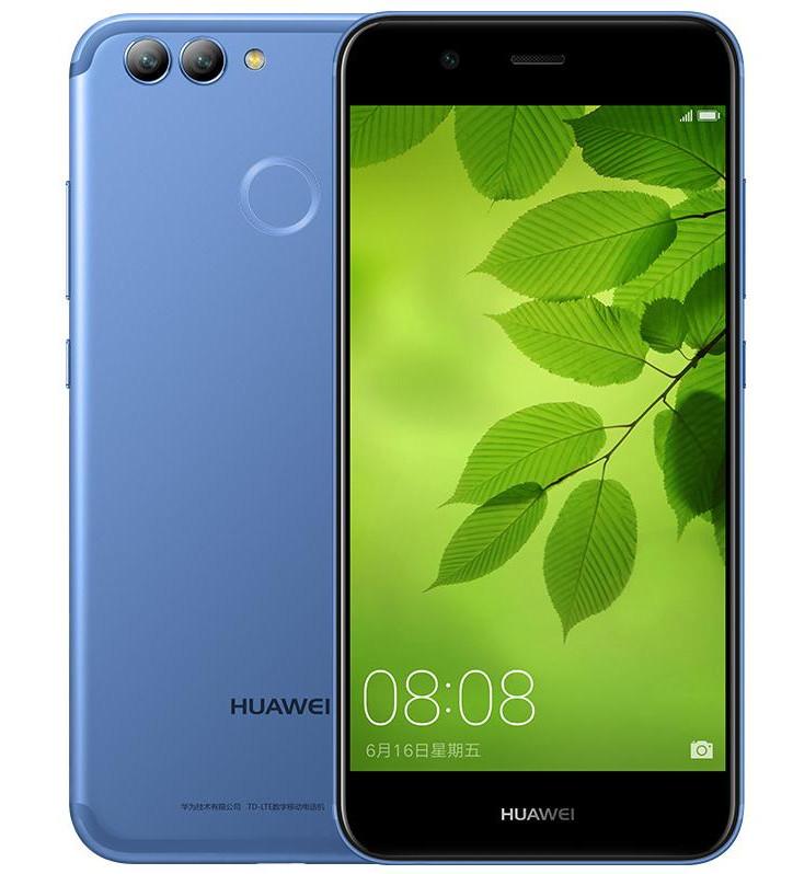 Frente y dorso del Huawei Nova 2 Plus azul.