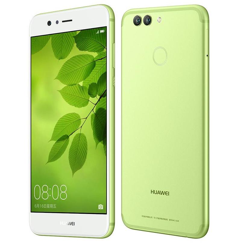 Frente y dorso del Huawei Nova 2 verde.