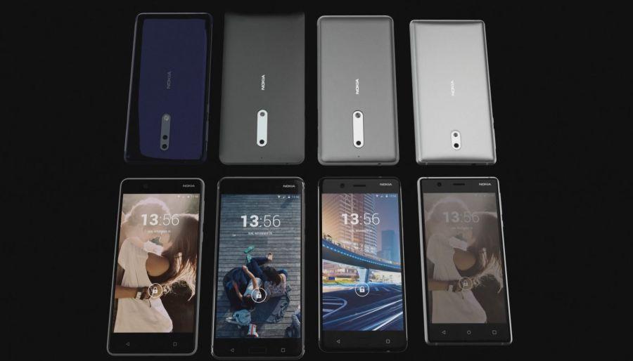 Captura del video de GCL con los 4 smartphones de Nokia.