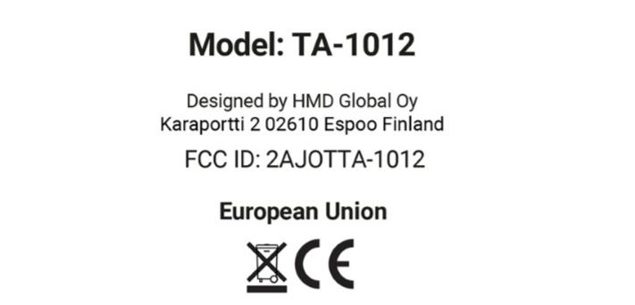 Certificación de la FCC del modelo TA-1012 de Nokia.
