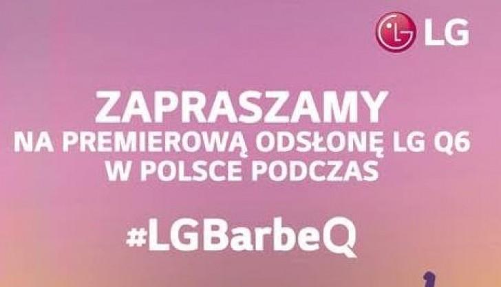 Invitación escrita en polaco a un evento con el LG Q6 como protagonista.