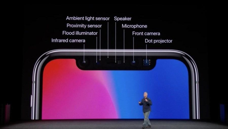 Todos los sensores alojados en el espacio de la cámara frontal del iPhone X.