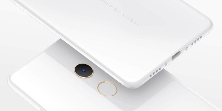 Render oficial del frente y dorso del Xiaomi Mi Mix 2 Special Edition blanco.
