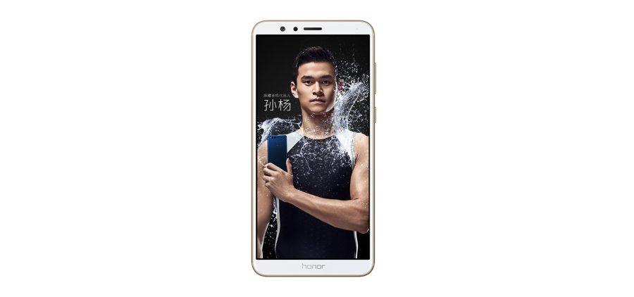 Render frontal del Huawei Honor 7X color dorado de frente blanco.