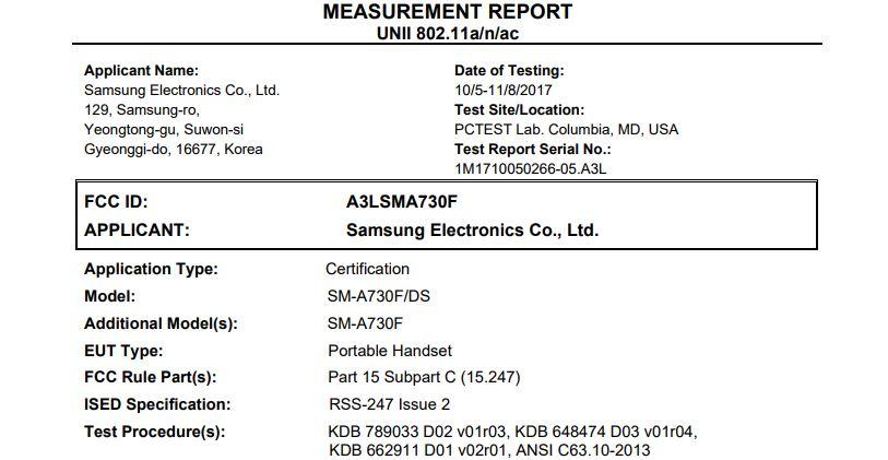 Captura de pantalla de la certificación del Samsung Galaxy A7 (2018) por la FCC.