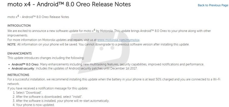 Changelog del Motorola Moto X4 que revela que pronto recibiría Android 8.0 Oreo.