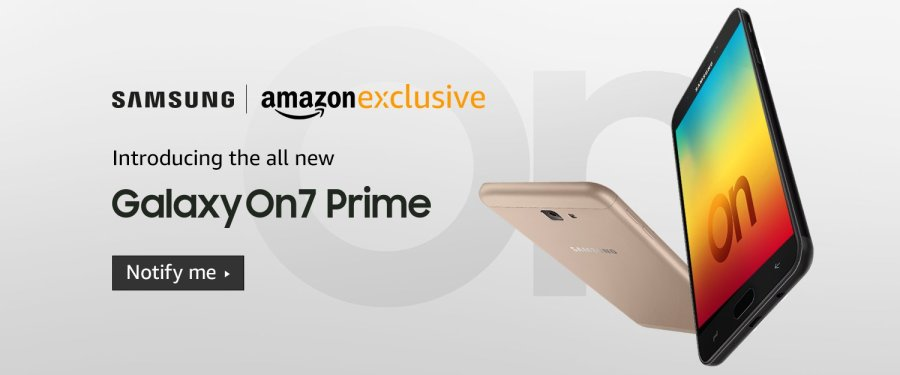 Render publicitario oficial del Samsung Galaxy On7 Prime.
