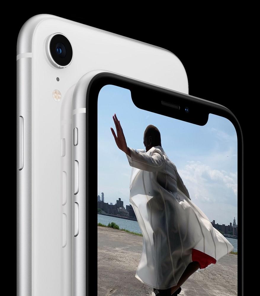 Render oficial del extremo superior frontal y dorsal del iPhone Xr.