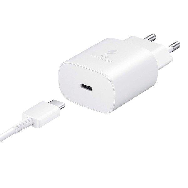 Incarcator priza Fast Charge Samsung EP-TA800EWE + cablu USB Type-C, 25W, Alb, Bulk