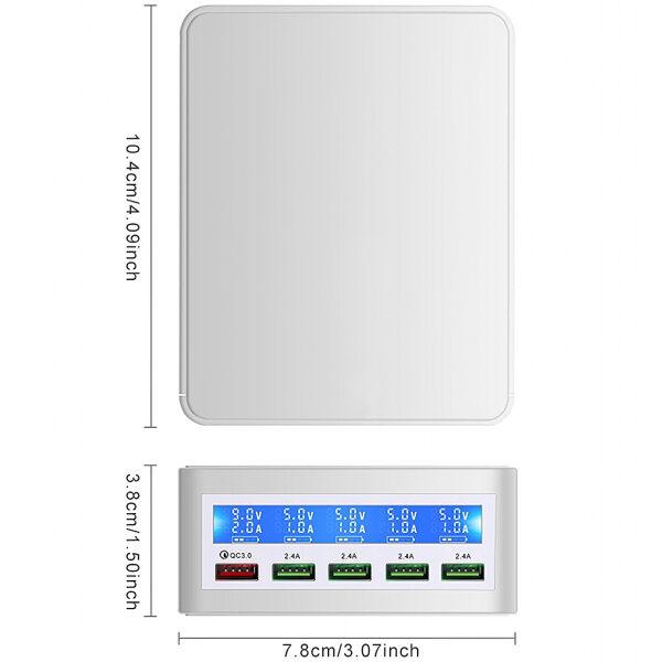 Statie incarcare SmartGSM cu Display, 40W, 4 x USB, 1 x Quick Charge USB 3.0, Alb