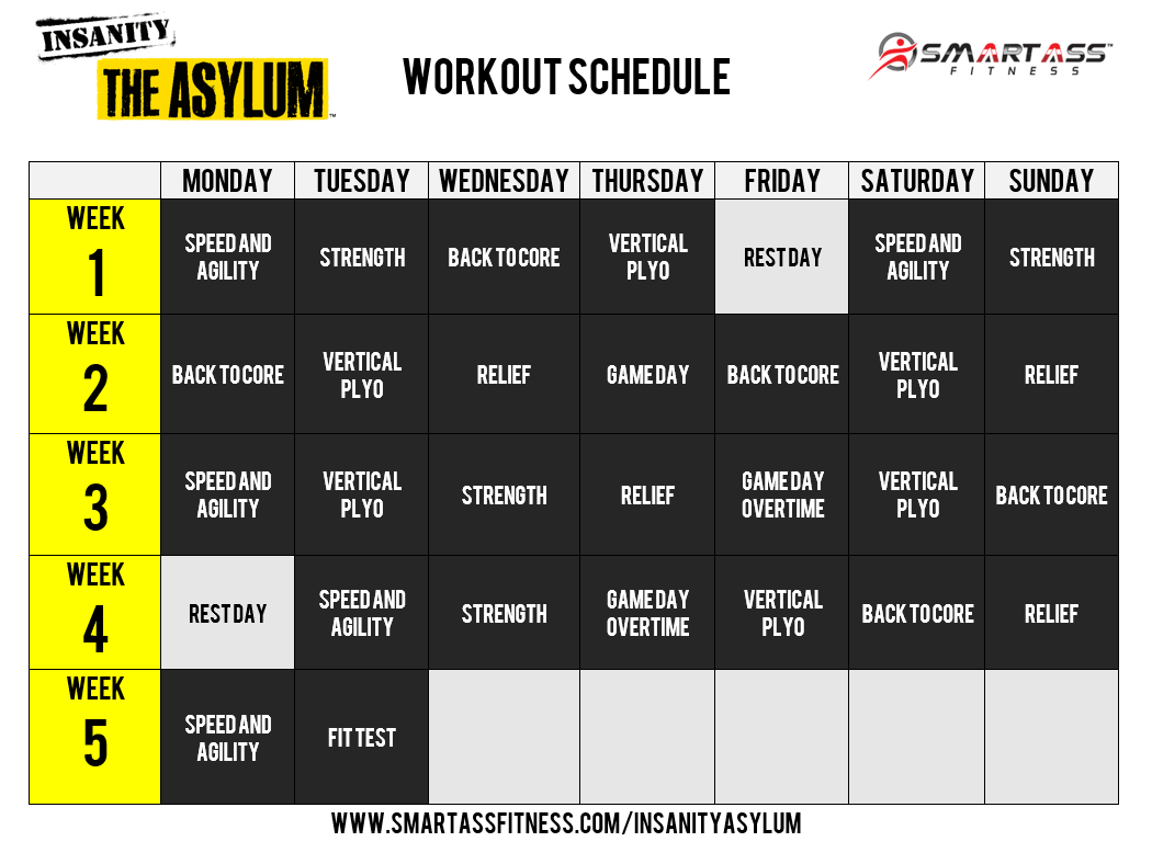 Insanity Asylum Workout Schedule Excel