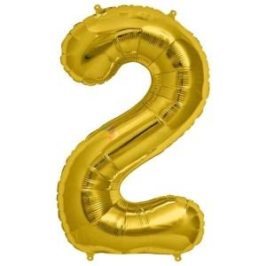 Balon folie cifra 2 auriu (gold) 100 cm