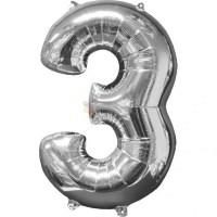 Balon folie cifra 3 argintiu (silver) 100 cm
