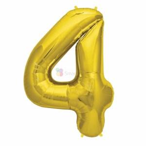 Balon folie cifra 4 auriu (gold) 100 cm