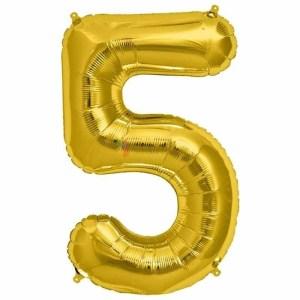 Balon folie cifra 5 auriu (gold) 100 cm