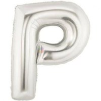 balon-folie-litera-p-argintiu