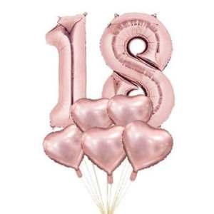 Set baloane folie 18 ani Rose Gold si 5 inimi