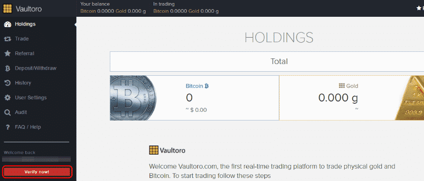 Vaultoro Step 3 - Exchange Page