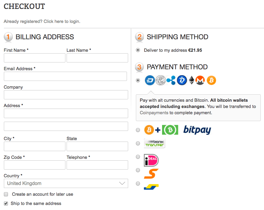 Checkout Screen Buy Gold With Cryptocurrency