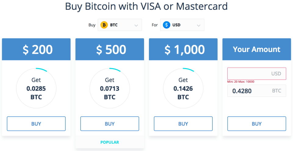Buy Bitcoin With VISA or Mastercard Credit Card
