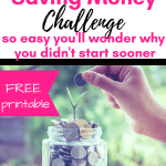 Saving Money Challenge: Do you need tips to save $1000? You can save money fast with this simple 26 week saving money plan and FREE printable! Saving money ideas for families, vacations, Christmas, or to become debt free. I'm using this challenge to get our emergency fund back on track!
