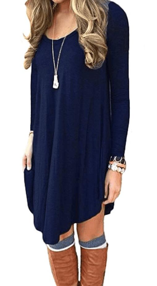 cute fall fashion long sleeve tshirt dress