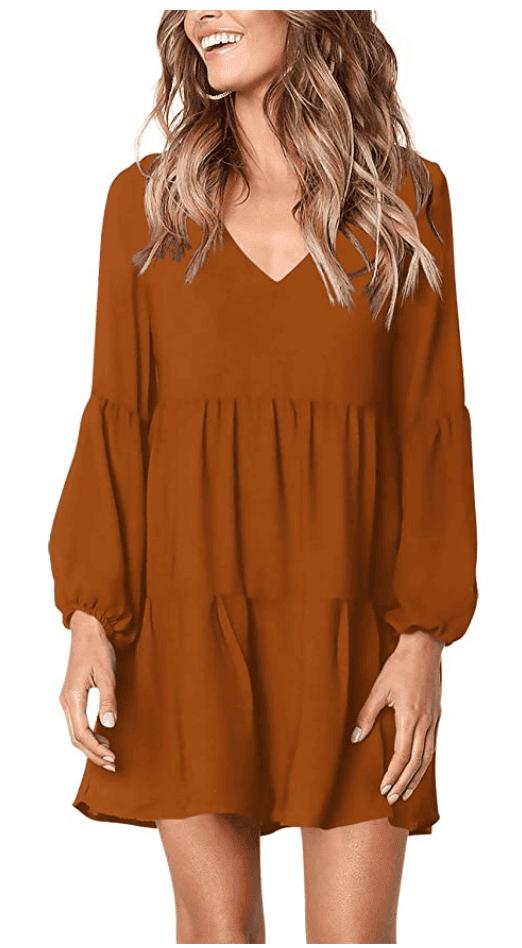 cute fall dresses - burnt orange midi tunic dress