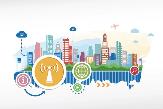 Artist vector illustration of a smart city