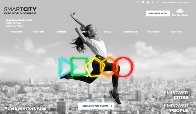 Smart City World Congress logo with woman jumping olympic rings