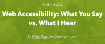 Web Accessibility: What You Say vs. What I Hear