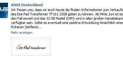 ASUS Eee Pad Transformer Facebook Markstart