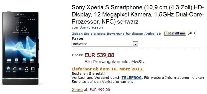 sony xperia s amazon lieferdatum