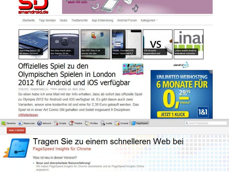 Page Speed Insights Erweiterung Chrome