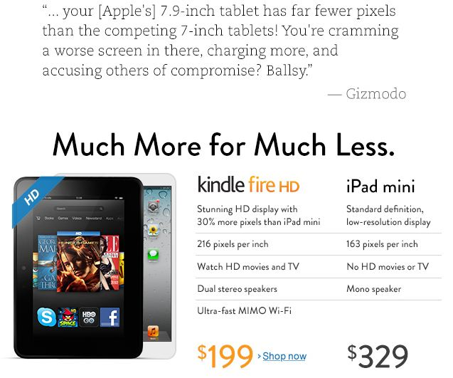 amazon.com kindle fire hd vs ipad mini