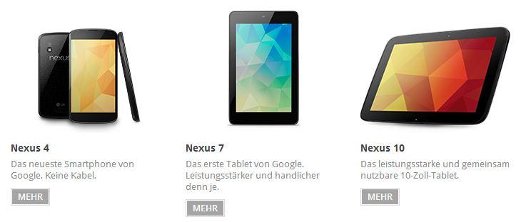 Nexus 4, Nexus 7 und Nexus 10 Google Play