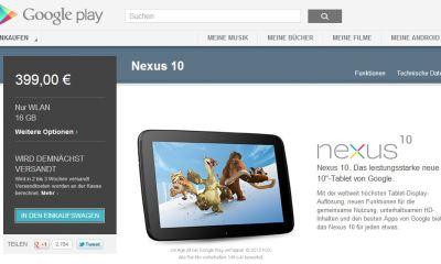 nexus 10 wieder auf lager