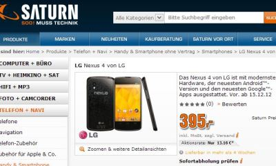 nexus 4 saturn online shop screenshot