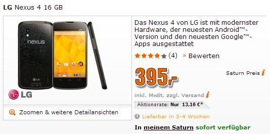 nexus 4 saturn verfügbar