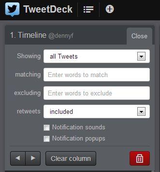 TweetDeck-Spalten-Filter