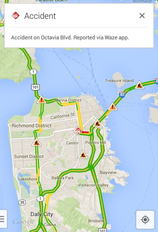 waze google maps screenshot