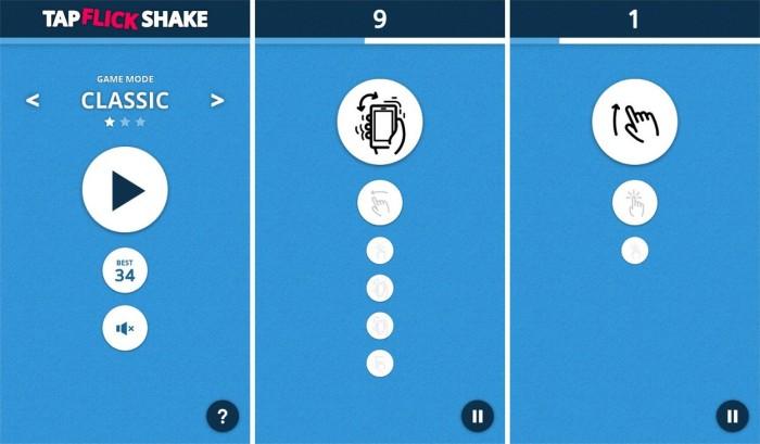 tap flick shake