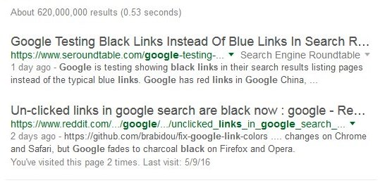 Google schwarze Links