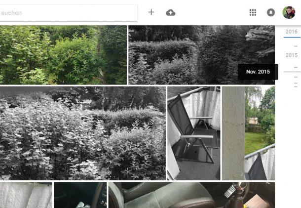 Google Fotos Zeitachse